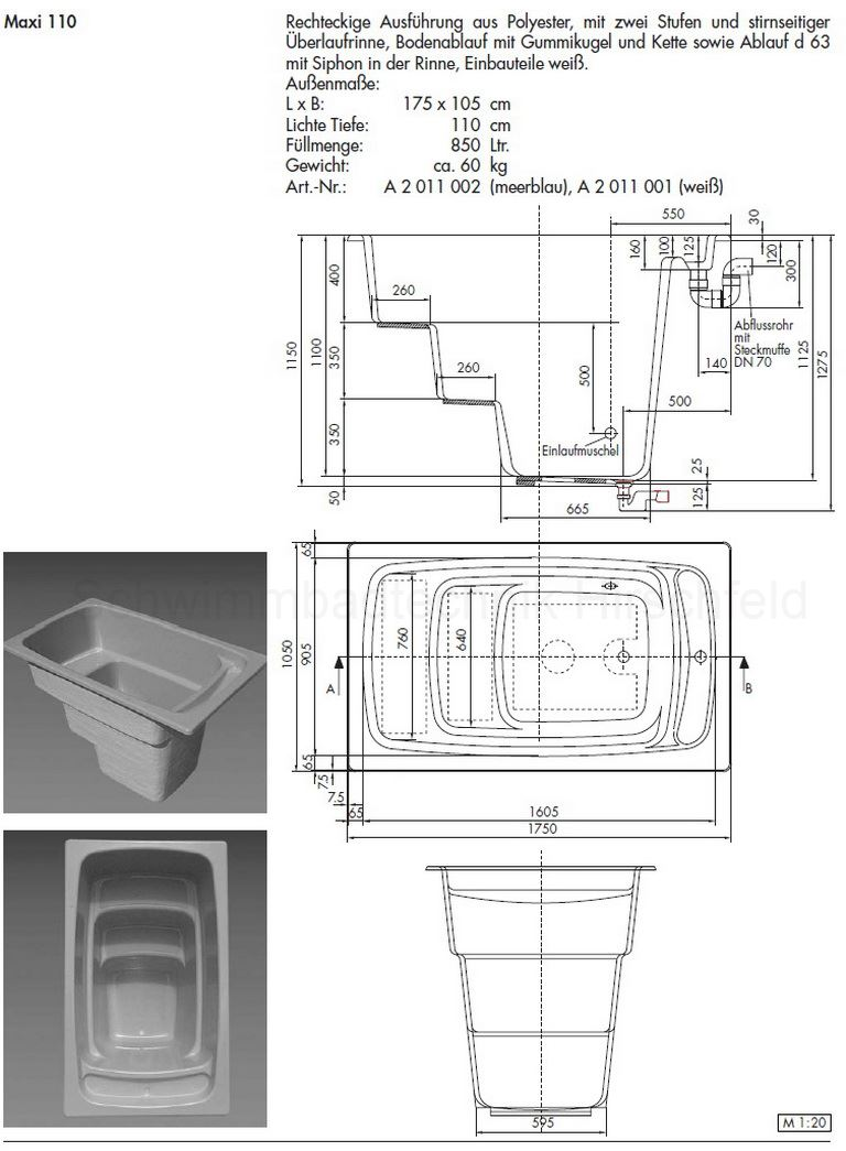 saunatauchbecken aus gfk kunststoff mit berlaufrinne maxi 110. Black Bedroom Furniture Sets. Home Design Ideas