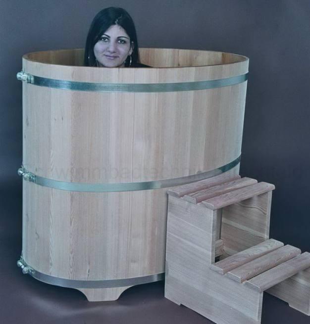 sauna tauchbecken aus holz l rche au en natur innen. Black Bedroom Furniture Sets. Home Design Ideas